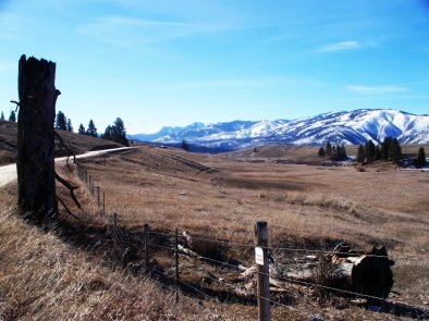 View of the side of French Basin Road, Sula Montana